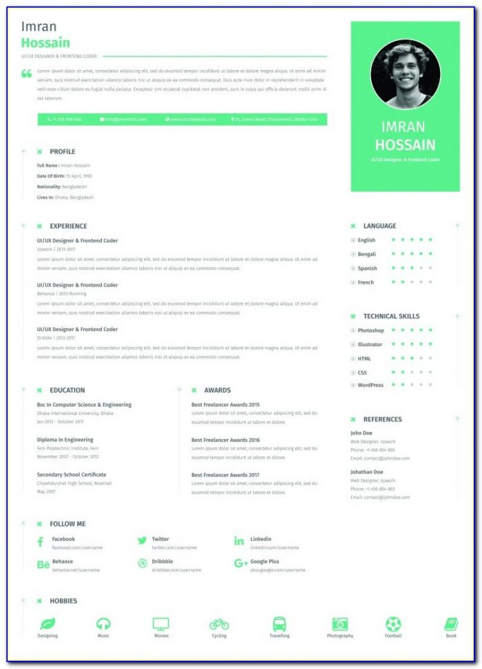 Attractive Resume Templates Free Download 2018