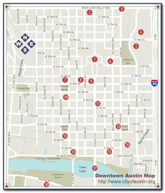 Austin Texas Downtown Hotels Map