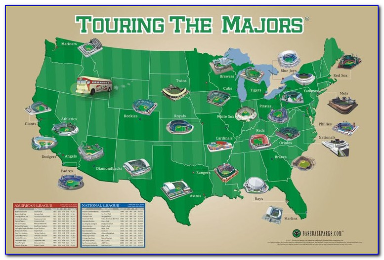 Ballparks Of Major League Baseball Map