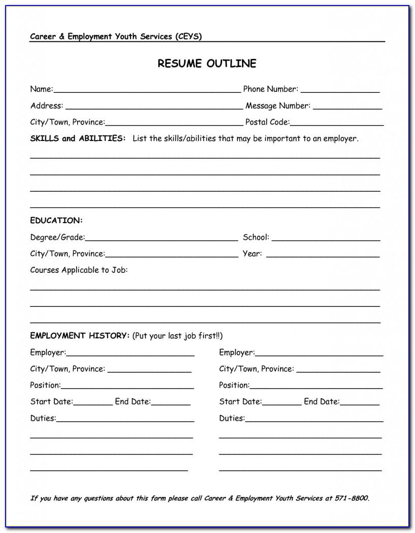Basic Outline Of A Resume