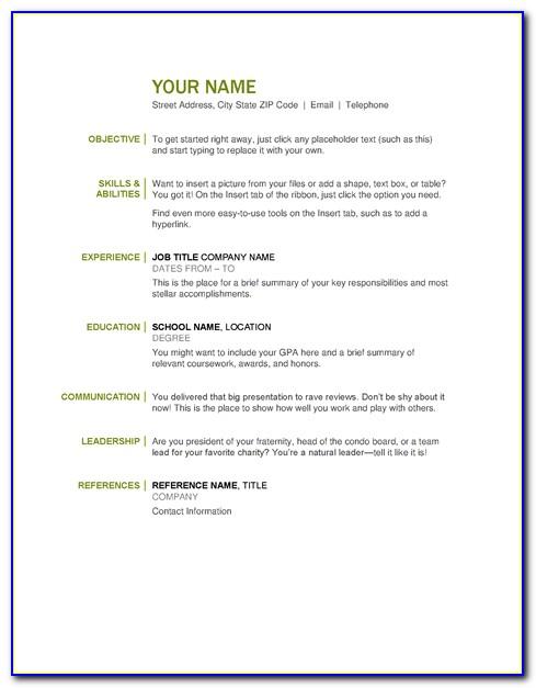 Basic Resume Template Google Docs