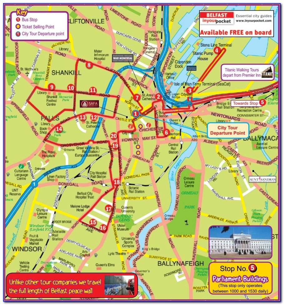 Belfast Hop On Hop Off Tour Map