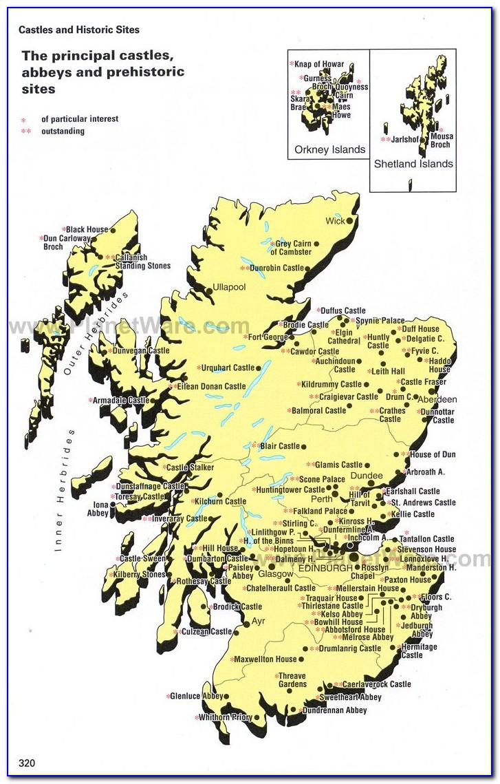 Best Castles Scotland Map