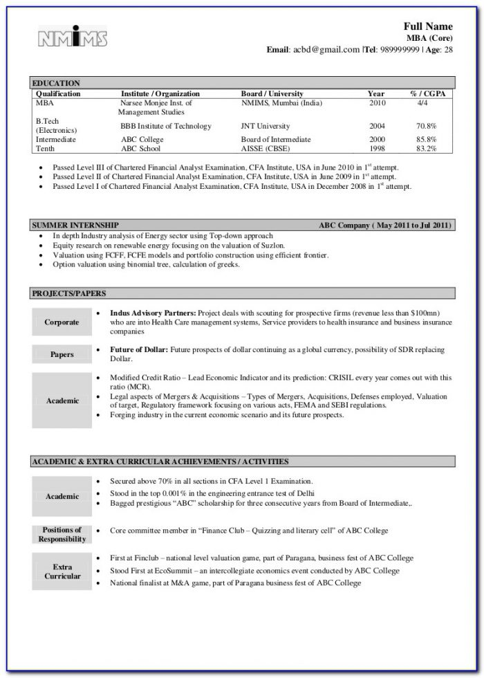Best Resume Format Download In Word File