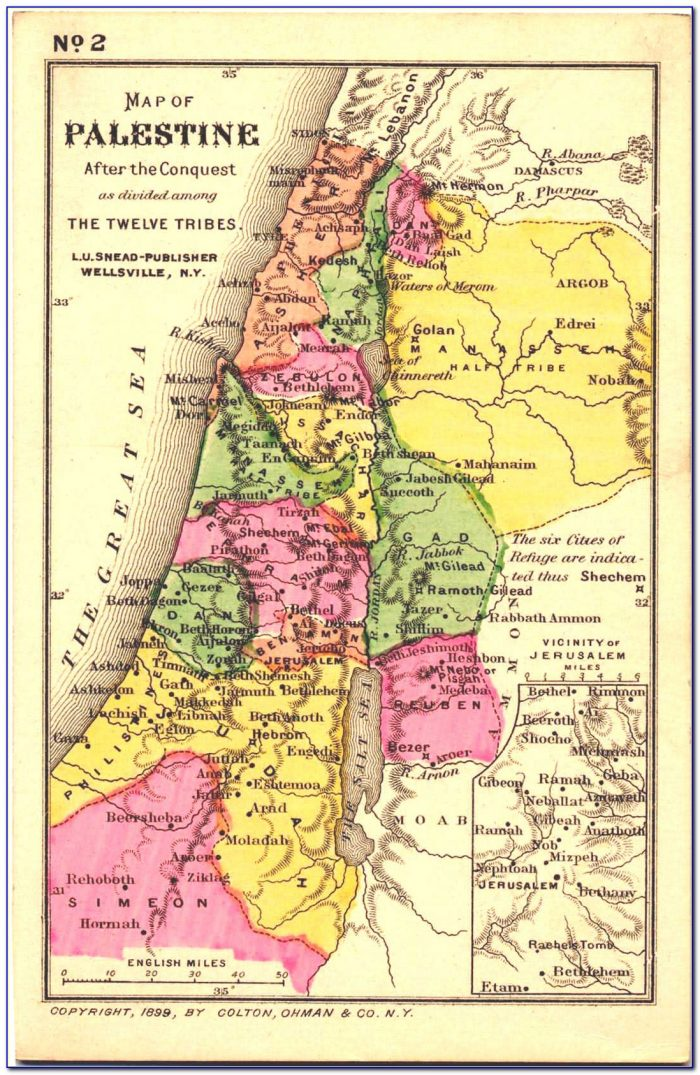 Biblical Map Of Israel Joshua