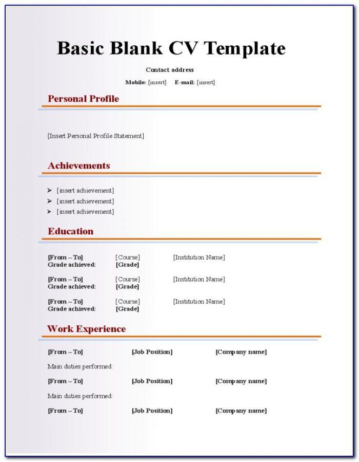Blank Resume Form Doc