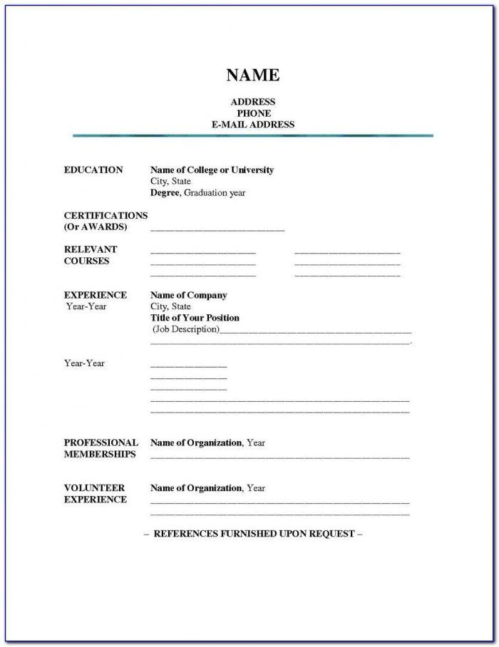 Blank Resume Pdf For Job