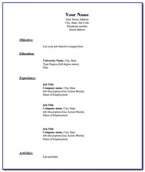 Blank Resume Pdf For Students