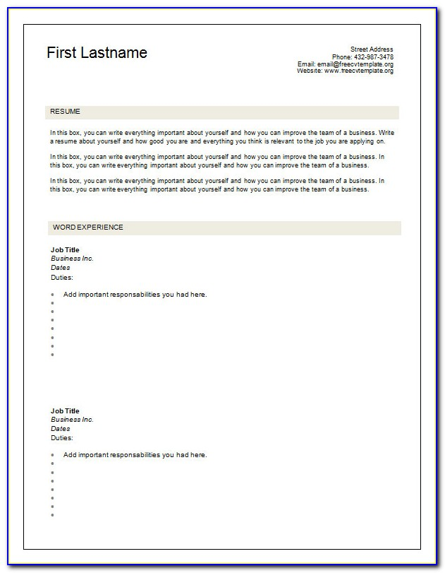 Blank Resume Templates 2018