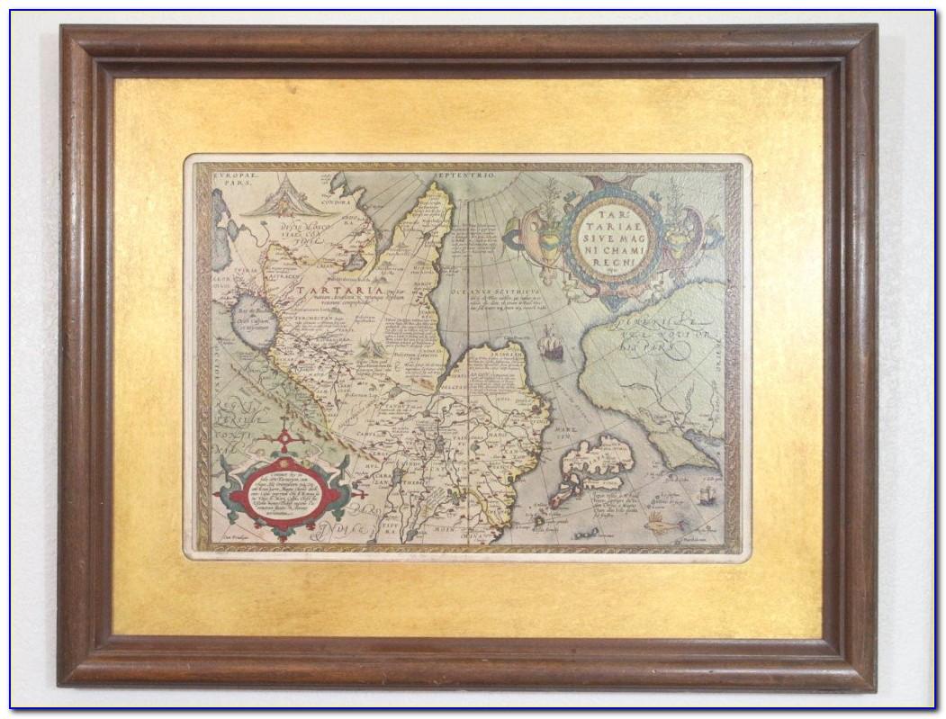 Blue Old World Map Framed