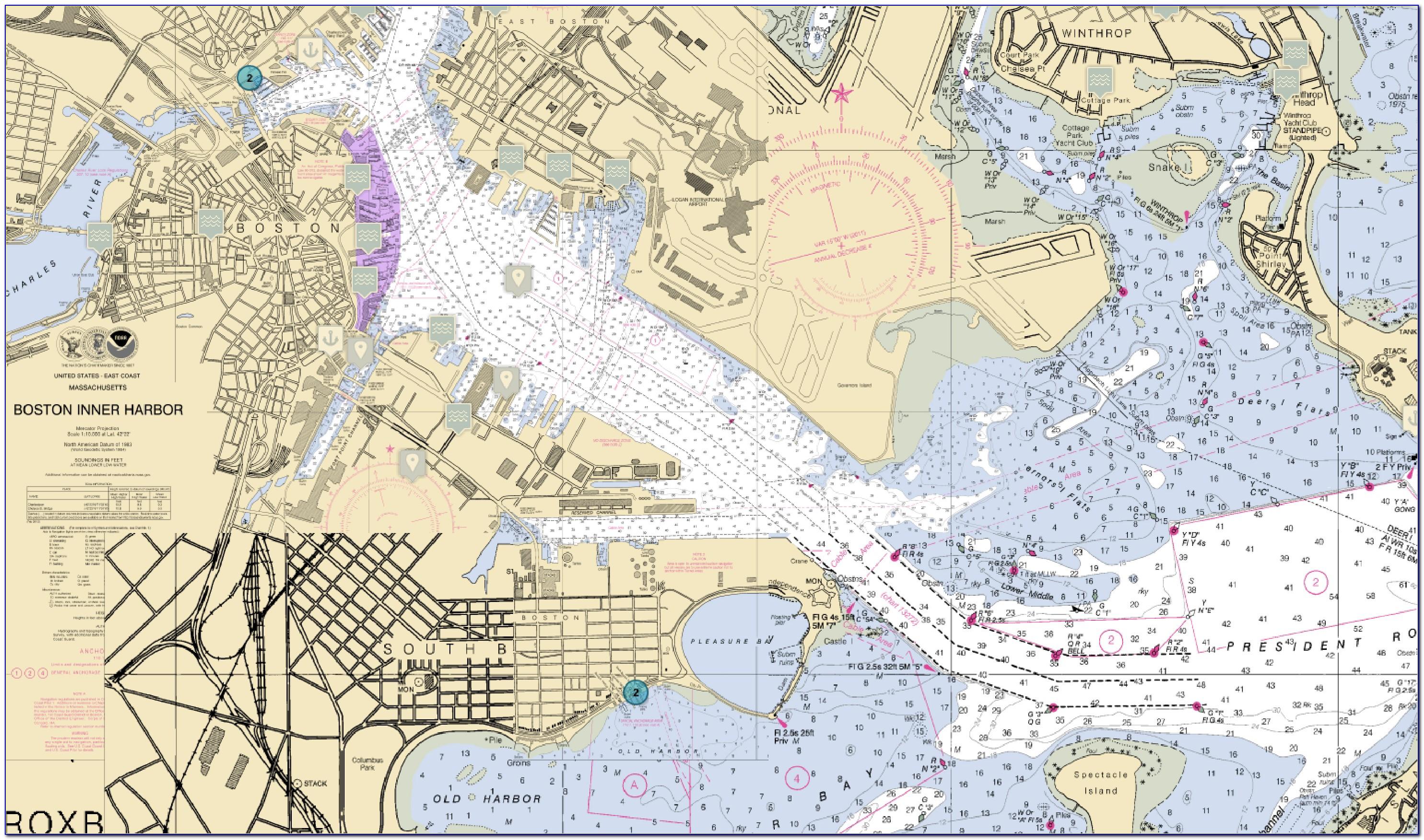 Boston Harbor Nautical Map