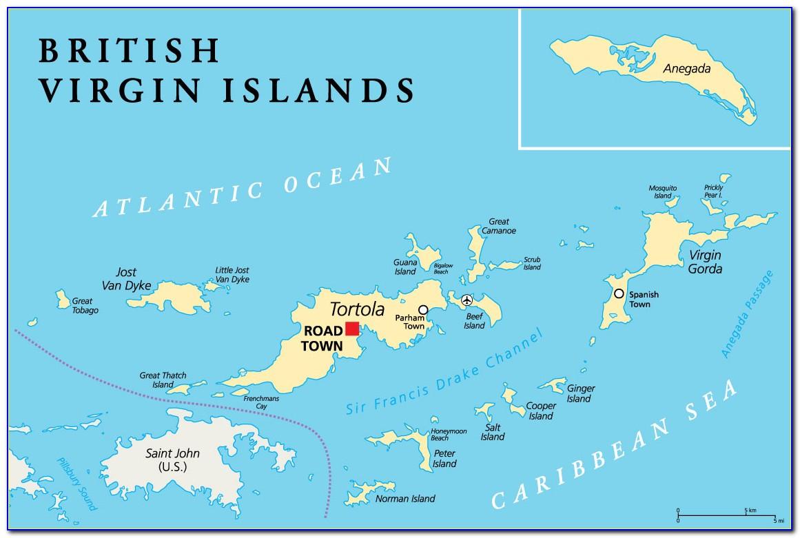 British Virgin Islands Map Caribbean Islands