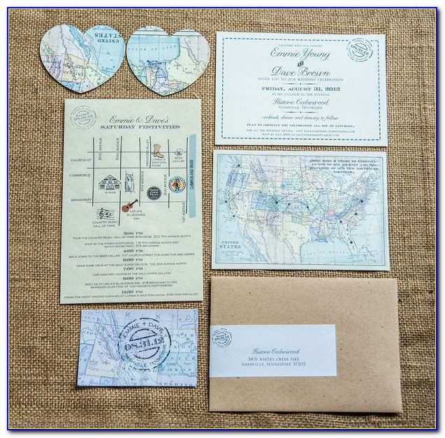 Burgundy Wedding Invitations With Maps