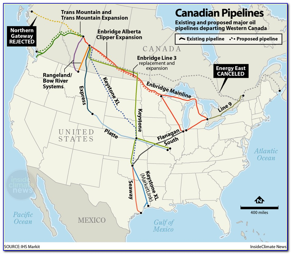 Canadian And Us Oil Pipelines Map