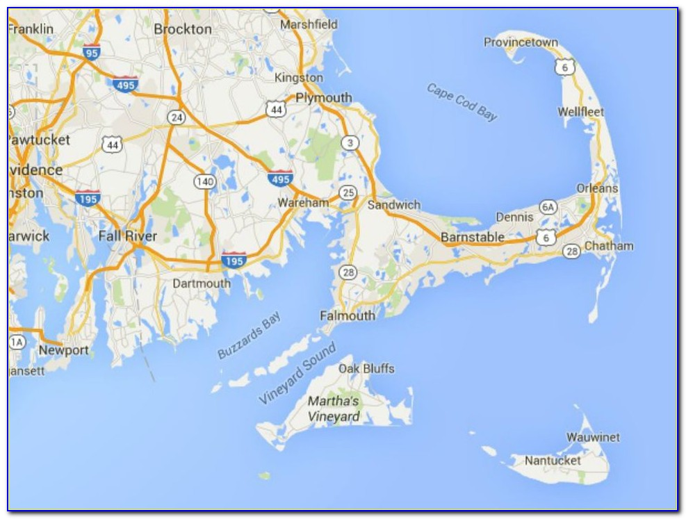 Cape Cod Nantucket Martha's Vineyard Map