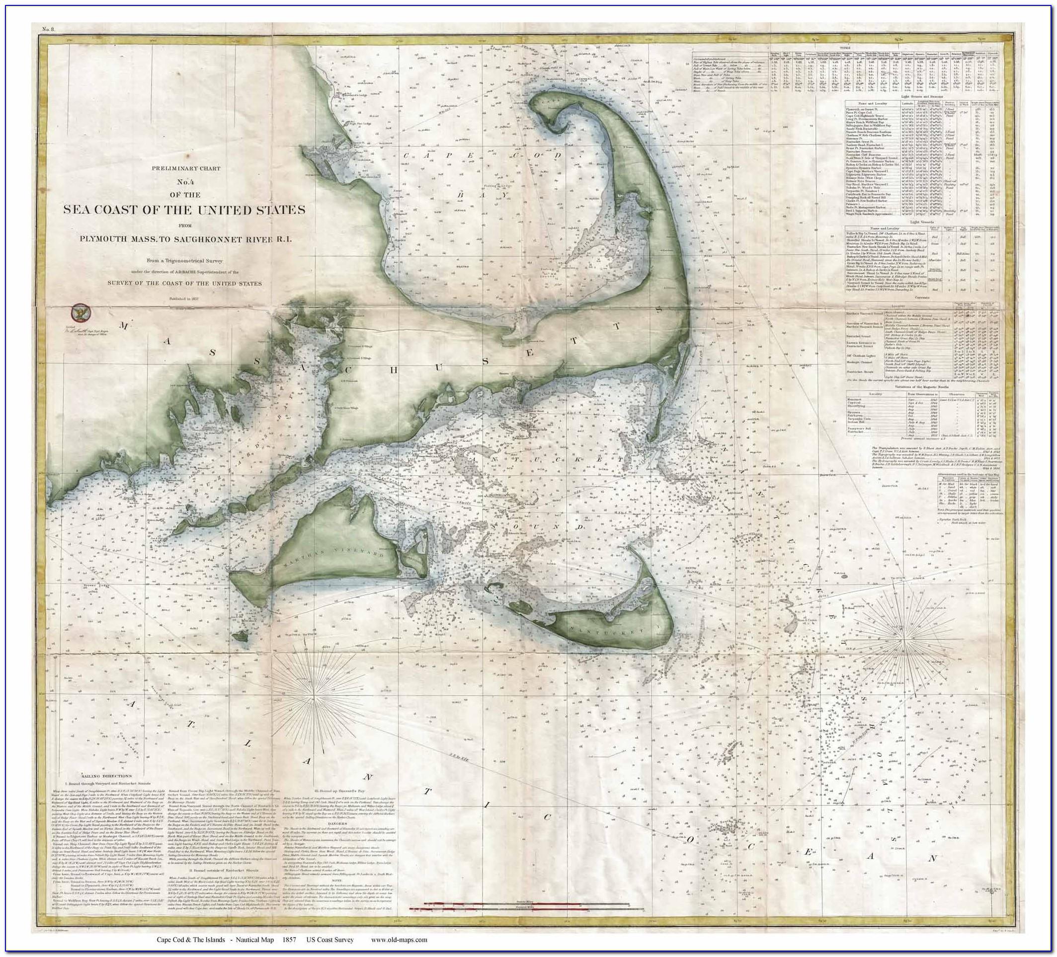 Cape Cod Nautical Chart Blanket
