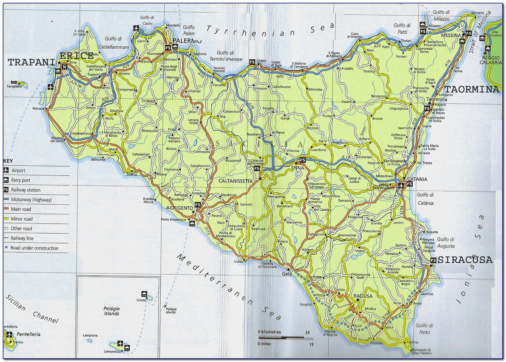 Catania Sicily Tourist Map