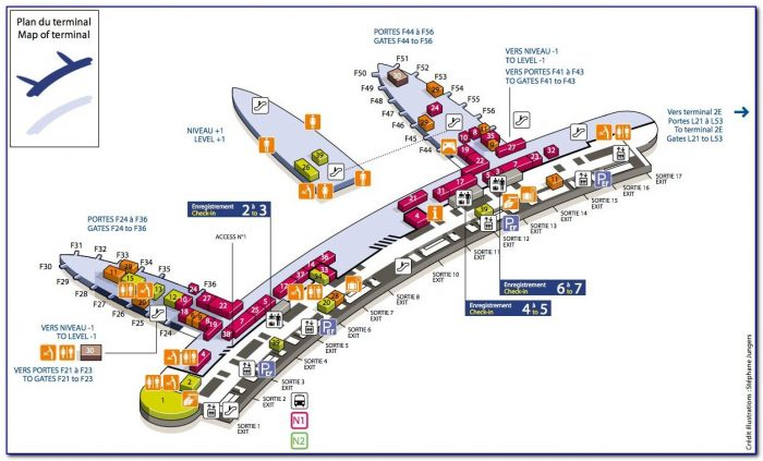 Cdg Airport Map Terminal 2e To 2c