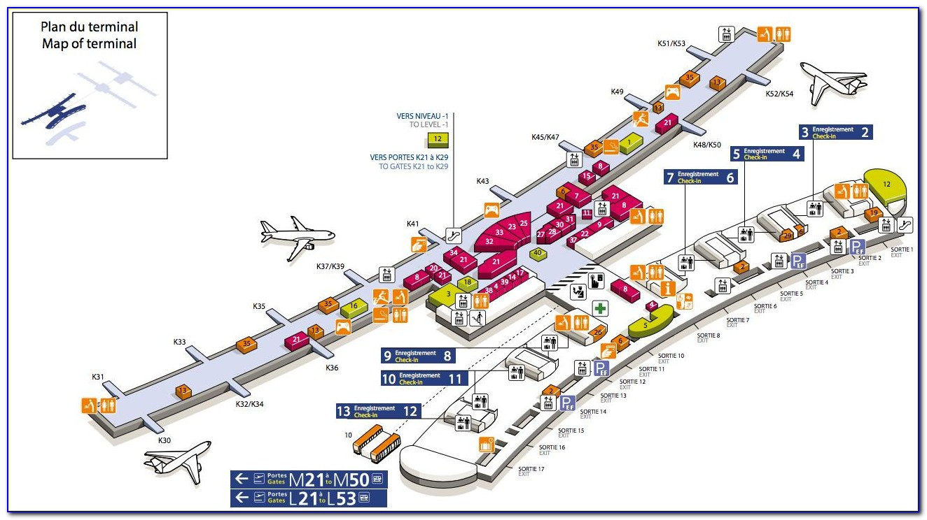 Charles De Gaulle Airport Map Terminal 2e To 2f
