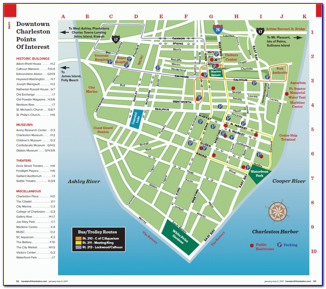 Charleston Sc Map Of Downtown