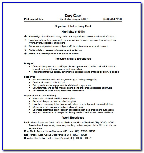 Chef Resume Template Australia