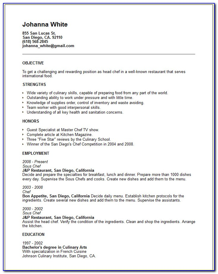 Chef Resume Template Doc