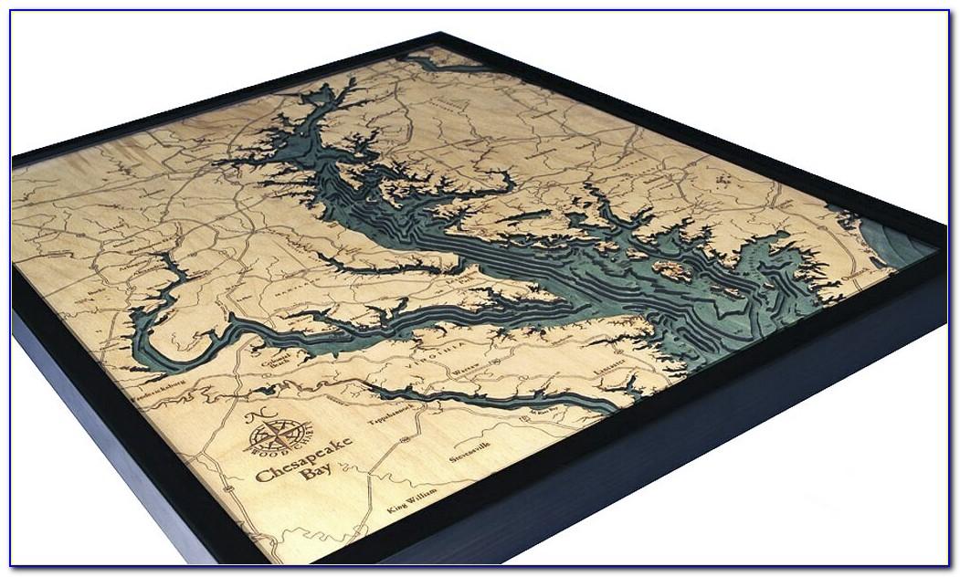 Chesapeake Bay Wooden Map