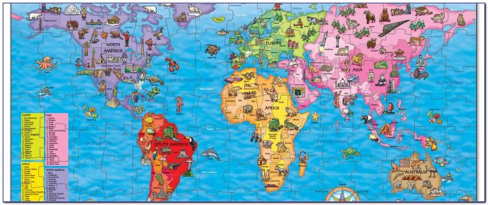 Children's Map Of The World Giant 500 Piece Jigsaw Puzzle