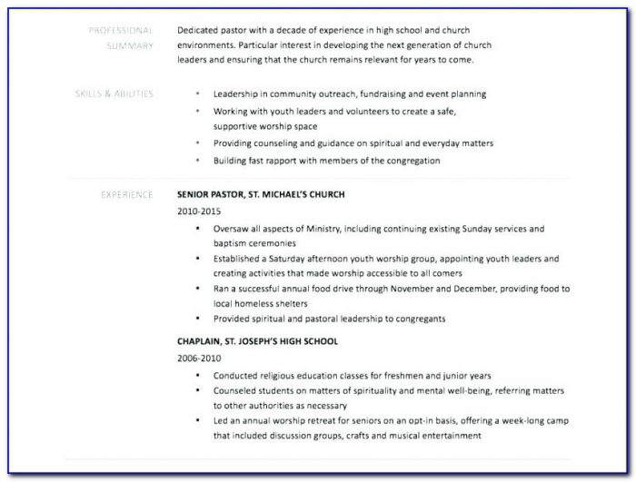 Church Ministry Resume Templates