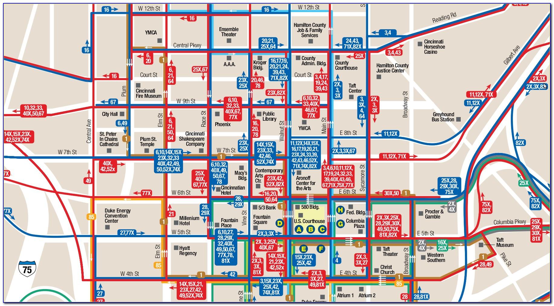 Cincinnati Hotels Downtown Map