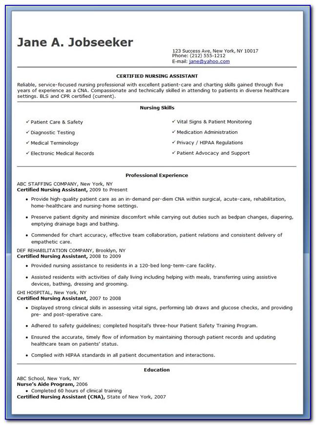 Cna Resume Template No Experience