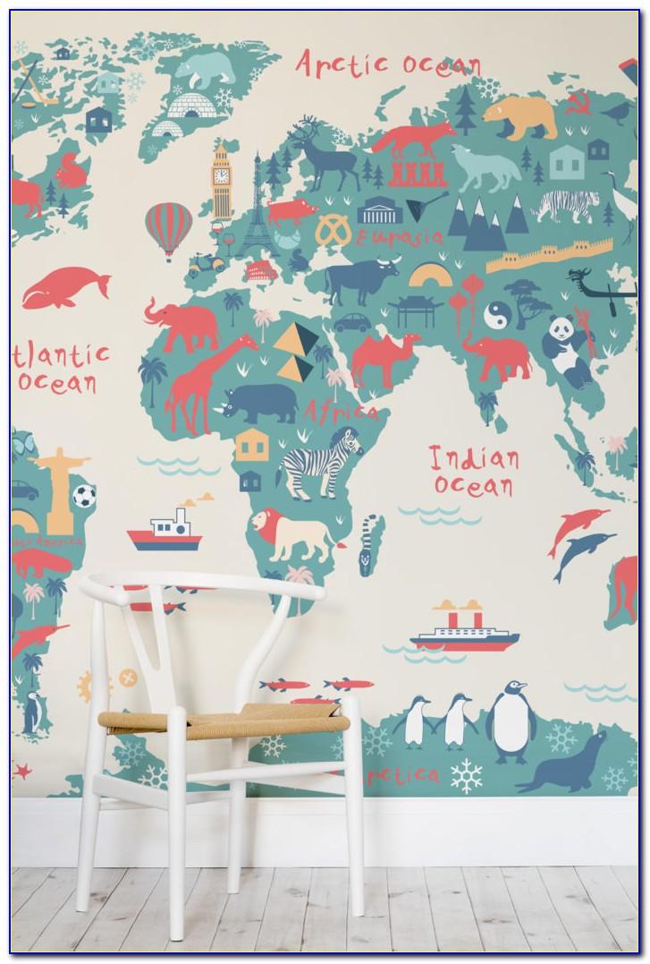 Contemporary Grey World Map Wallpaper Mural