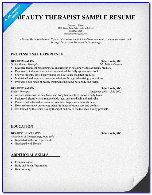 Beauty Resume Sample | We Also Have 1500+ Free Resume Templates In With Regard To Cosmetology Resumes Template