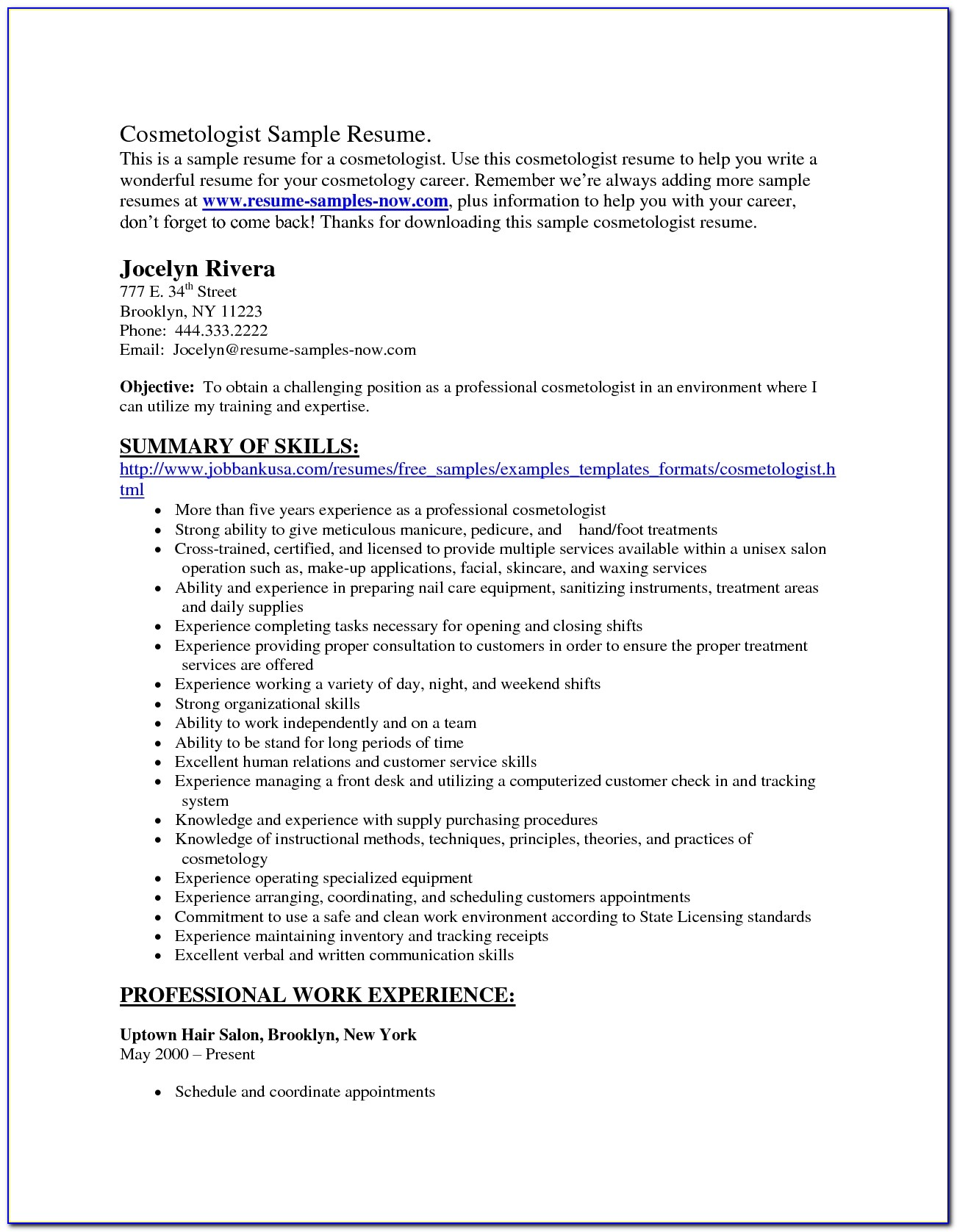 Cosmetology Resume Templates | Best Business Template Throughout Cosmetology Resumes Template