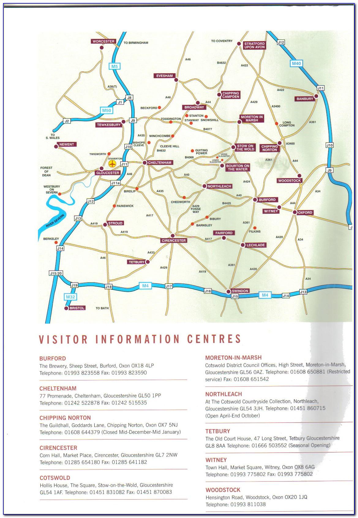 Cotswolds Tourist Map