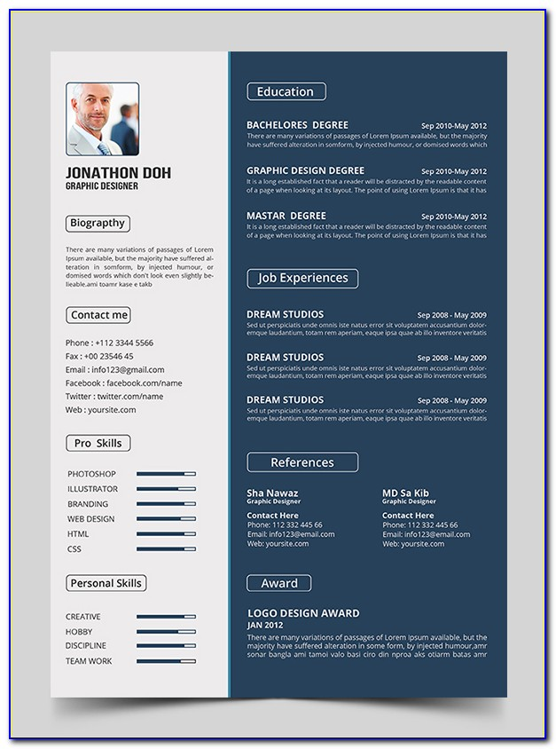 Creative Resume Template Free Download Psd