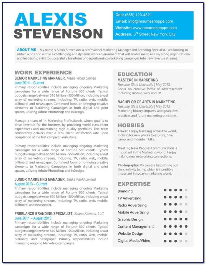 Creative Resume Templates Free Download For Microsoft Word