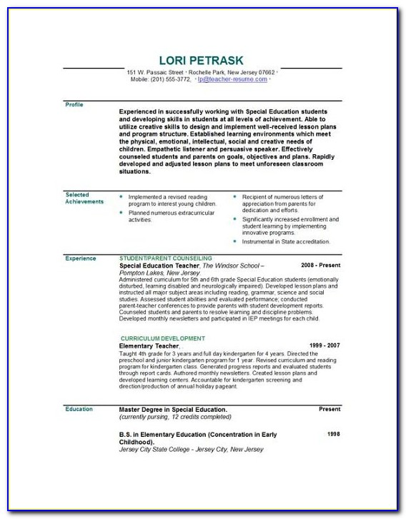 Cv Template For Teachers