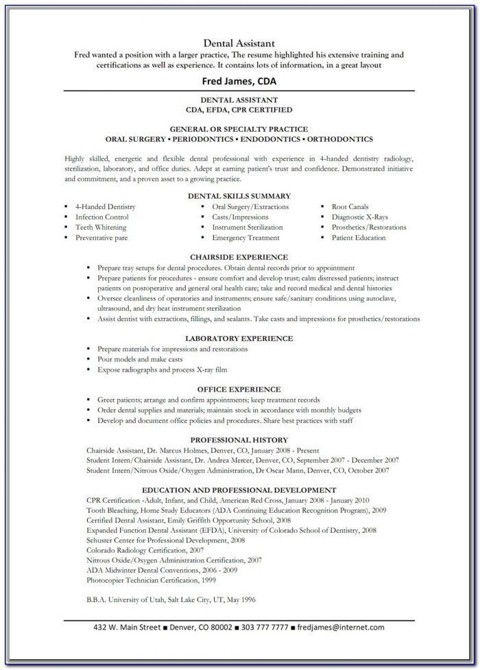 Dental Assistant Resume Templates Free