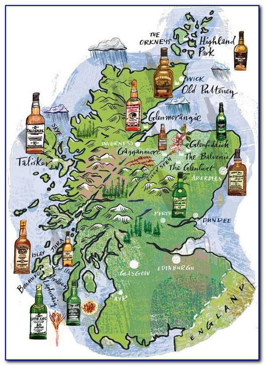 Distillery Map Of Scotland 1902