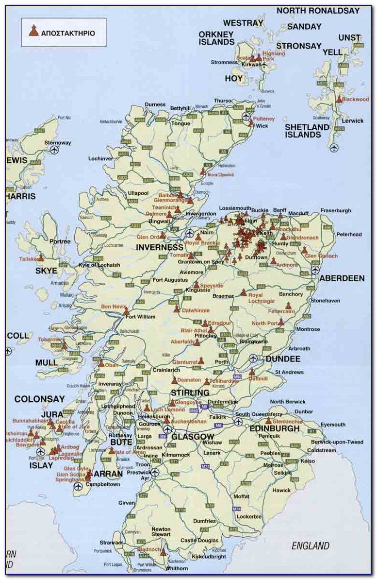 Distillery Map Of Scotland Poster