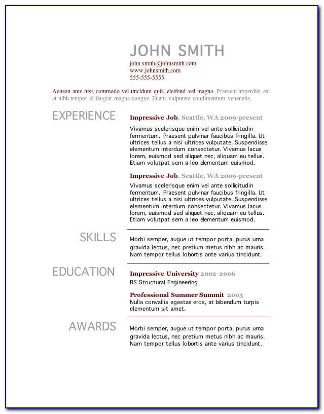 Download Resume Template Word 2010