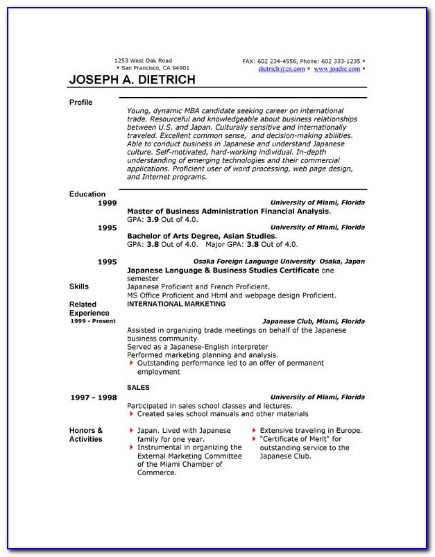 Download Resume Template Word Free
