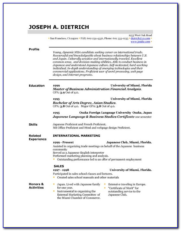 Downloadable Resume Templates For Free