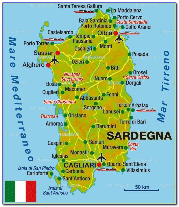 Driving Map Of Sardinia
