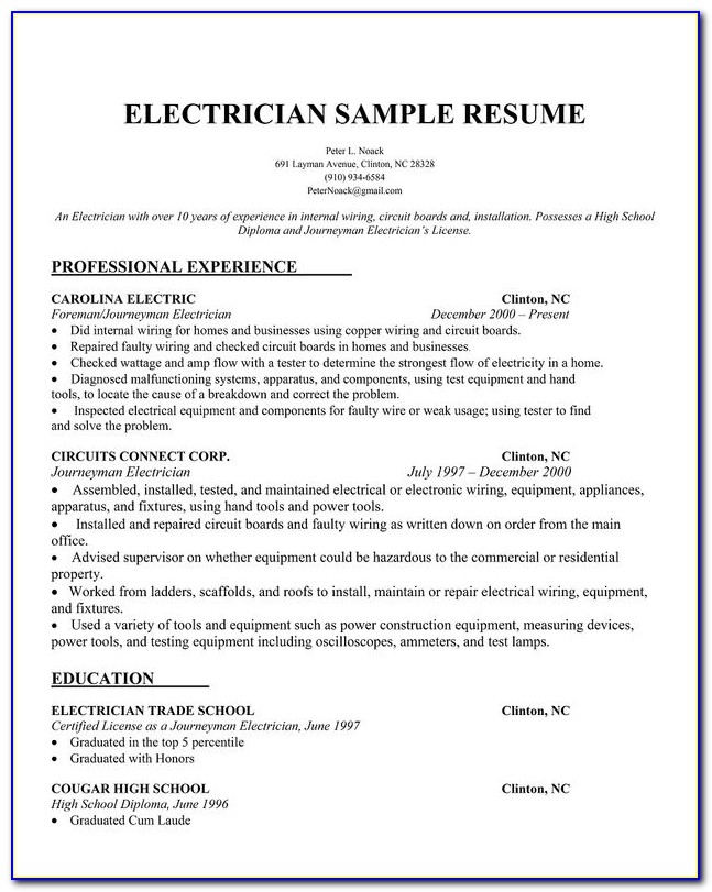 Electrician Resume Template Word