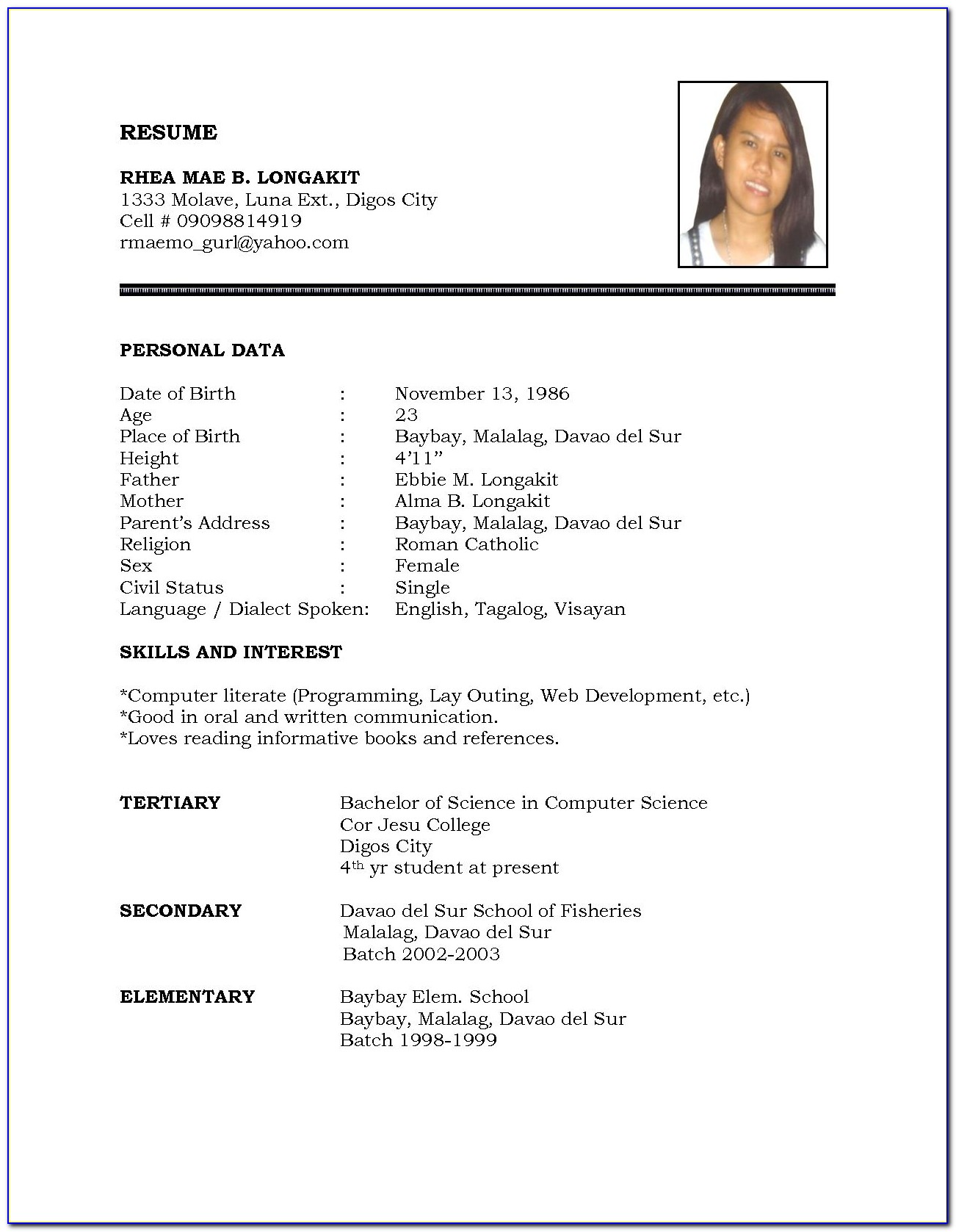 Examples Of Resumes Templates