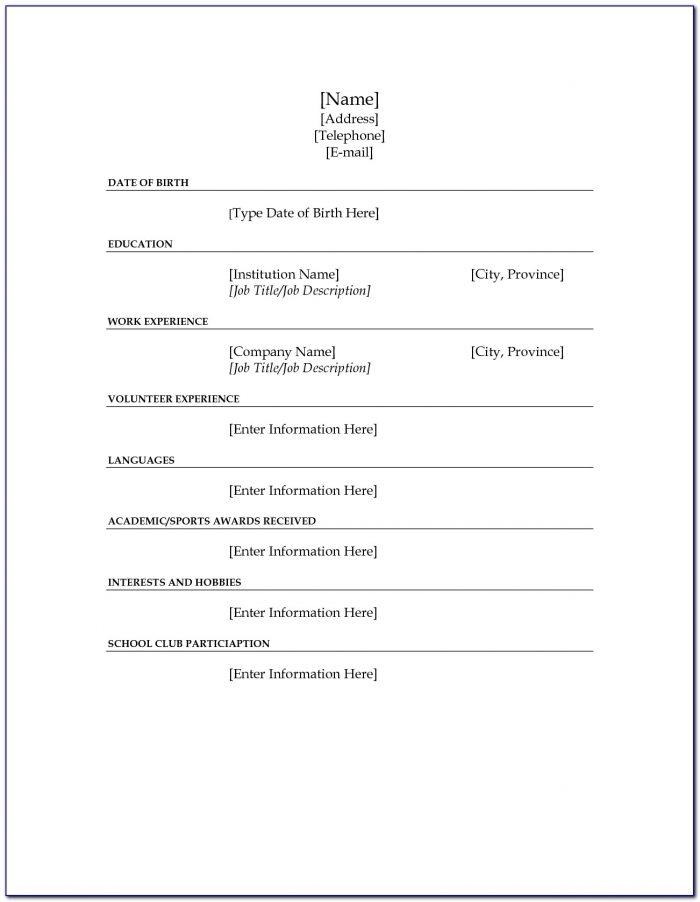Fill In The Blank Resume Worksheet Pdf