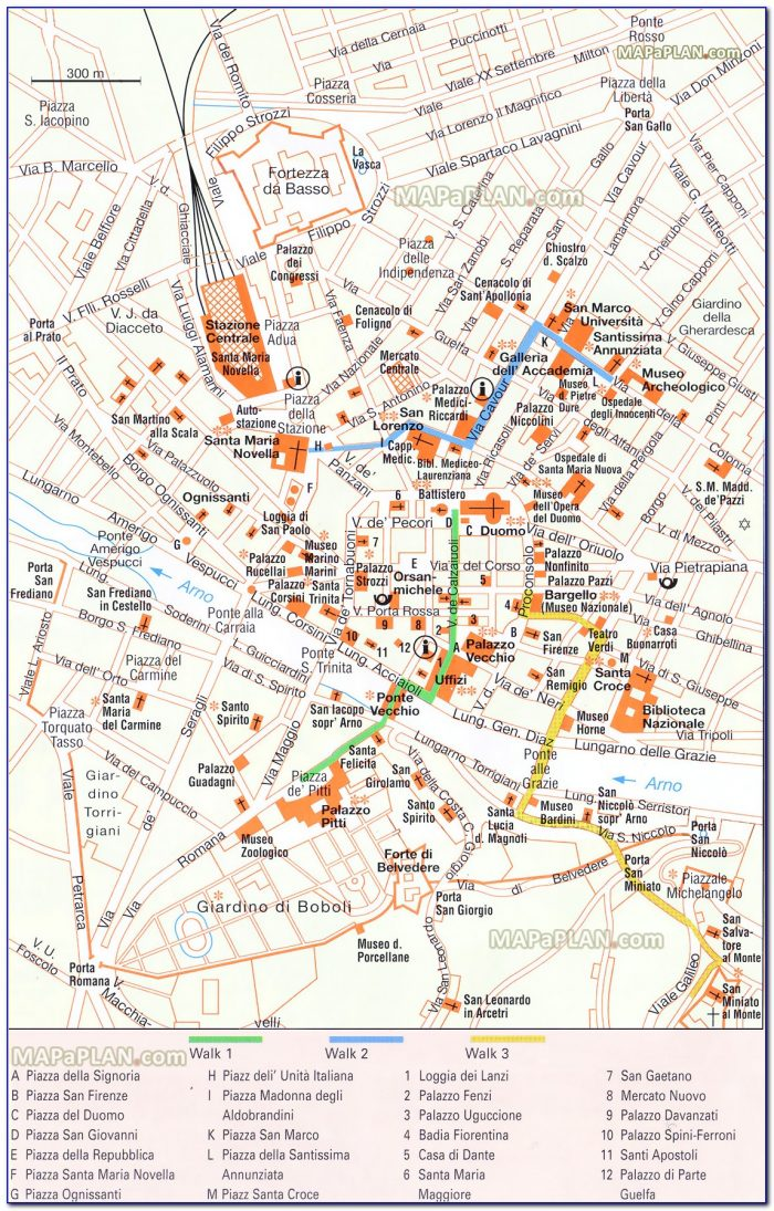 Florence Top Tourist Attractions Printable Map