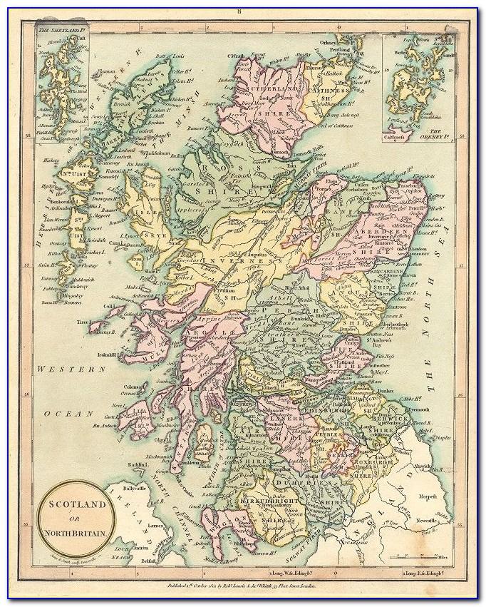 Framed Antique Map Of Scotland
